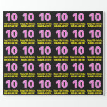 """[ Thumbnail: 10th Birthday: Pink Stripes and Hearts """"10"""" + Name Wrapping Paper ]"""