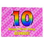 [ Thumbnail: 10th Birthday: Pink Stripes & Hearts, Rainbow # 10 Gift Bag ]