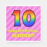 [ Thumbnail: 10th Birthday: Pink Stripes & Hearts, Rainbow # 10 Napkins ]