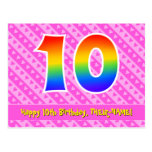 [ Thumbnail: 10th Birthday: Pink Stripes & Hearts, Rainbow 10 Postcard ]