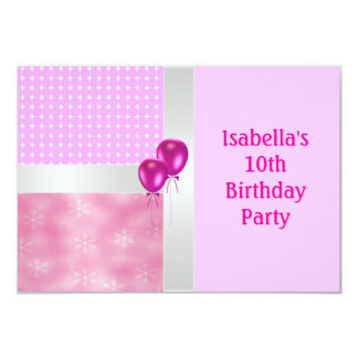 "10th Birthday Pink White Pattern & Balloons 3.5"" X 5"" Invitation Card"