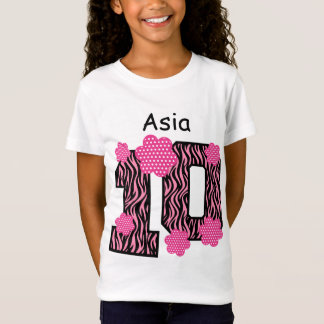 10th Birthday Pink Zebra Custom Name V025A3 T-Shirt