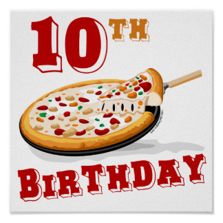 10th Birthday Pizza Party Poster