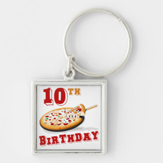 10th Birthday Pizza Party Silver-Colored Square Keychain
