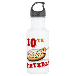 10th Birthday Pizza Party Water Bottle