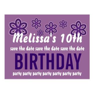 10th Birthday Purple Flowers Save the Date V08 Postcard