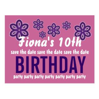 10th Birthday Purple Flowers Save the Date V09 Postcard