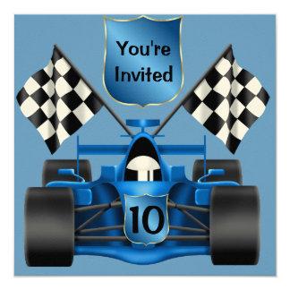 """10th BIRTHDAY Race Car Invitation 5.25"""" Square Invitation Card"""