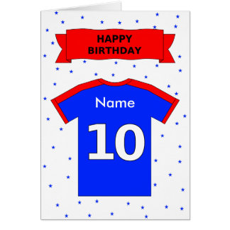 10th birthday red blue t-shirt add a name cards