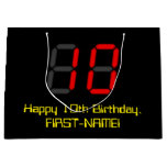 "[ Thumbnail: 10th Birthday: Red Digital Clock Style ""10"" + Name Gift Bag ]"