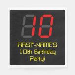 "[ Thumbnail: 10th Birthday: Red Digital Clock Style ""10"" + Name Napkins ]"