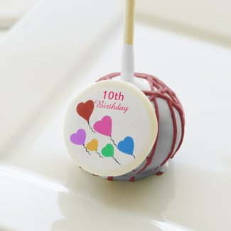 10th Birthday Red Pink Green Heart Balloons Cake Pops