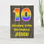 "[ Thumbnail: 10th Birthday: Rustic Faux Wood Look, Rainbow ""10"" Card ]"