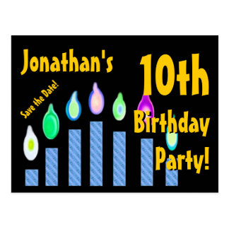 10th Birthday Save the Date Festive Candles V13 Postcard
