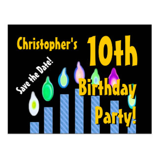 10th Birthday Save the Date Festive Candles V13C Postcard