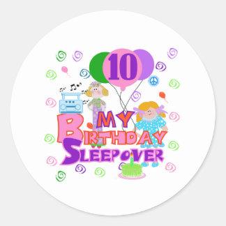 10th Birthday Sleepover Classic Round Sticker