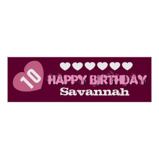 10th Birthday Star Banner Custom Name V02A HEARTS Poster