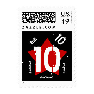 10th Birthday STAR Black White Red Stamp