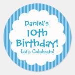 10th Birthday Sticker Blue Stripes V1C Round Stickers