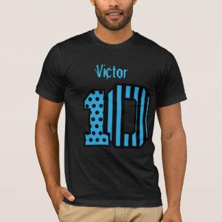 10th Birthday Stripes Polka Dot Custom Name A018 T-Shirt