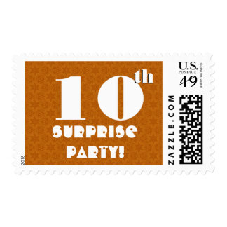 10th Birthday Surprise Party Gold White W1252 Stamp