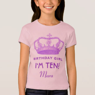 10th Birthday Tee Crown Design Custom Name Gift 2