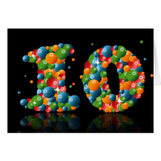 10th birthday with numbers formed from balls greeting card