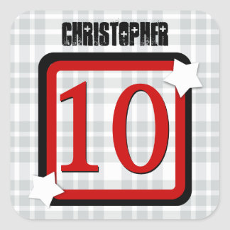10th Birthday with Stars PLAID for Him V05A Square Stickers