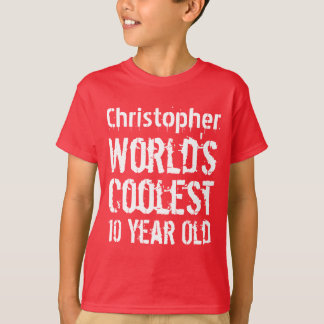 10th Birthday World's Coolest 10 Year Old RED 3 T-Shirt