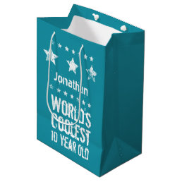 10th Birthday World's Coolest 10 Year Old Teal E17 Medium Gift Bag