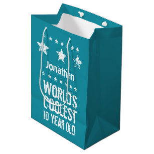 10th Birthday Worlds Coolest 10 Year Old Teal E17 Medium Gift Bag