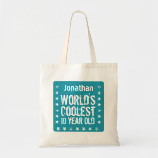 10th Birthday World's Coolest 10 Year Old Teal T30 Tote Bag