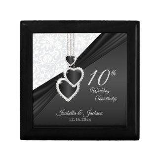 10th Black Onyx and White Wedding Anniversary Jewelry Box