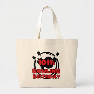 10th Bowling Birthday Large Tote Bag