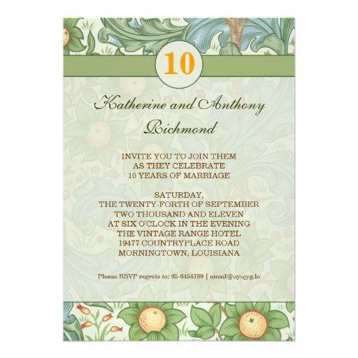 "10th Floral Wedding Anniversary Invitations 5"" X 7"