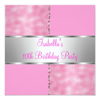 10th Girls Birthday Party Pink White Flower 2 Card
