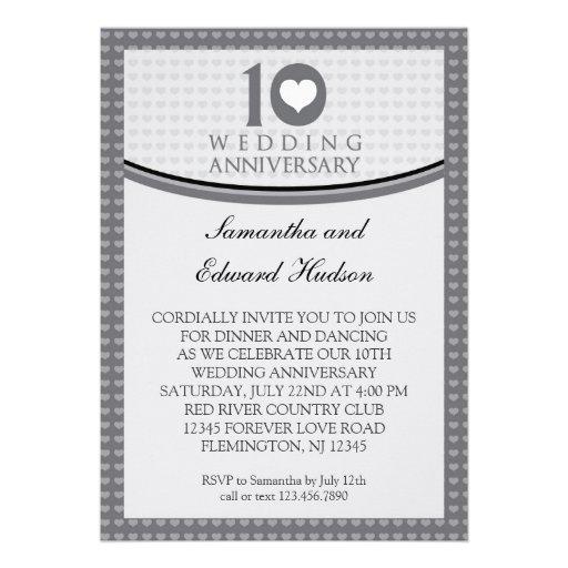 "10th Heart Wedding Anniversary Invitation 5"" X 7"