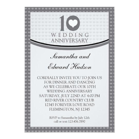 10 Year Wedding Anniversary Invitations: 10th Heart Wedding Anniversary Invitation