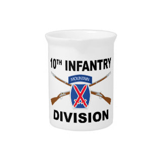 10th Infantry Division - Mountain - Crossed Rifles Drink Pitcher