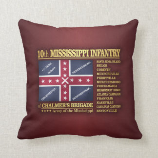10th Mississippi Infantry (BA2) Throw Pillow