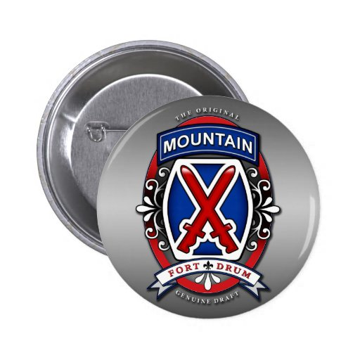 10th Mountain Division Beer Label 2 Inch Round Button