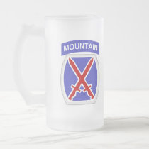 10th Mountain Division Frosted Glass Beer Mug