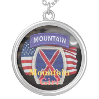 10th Mountain  Division veterans vets girls Neckla Round Pendant Necklace