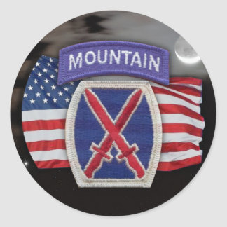10th mountain patch  scrapbooking veterans iraq  S Classic Round Sticker