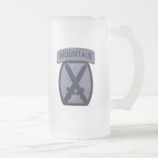 10th mtn mountain division fort drum veterans vets frosted glass beer mug