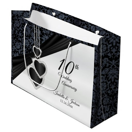 10th Onyx Wedding Anniversary - Large Large Gift Bag