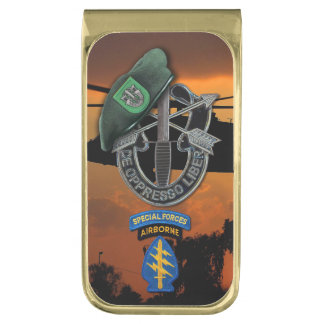 10th Special forces Green Berets SF Fort Carson Gold Finish Money Clip