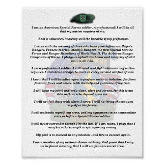 10th special forces veterans vets creed print