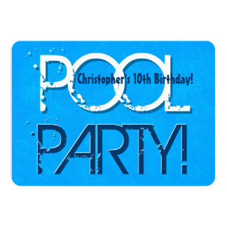 10th Ten Birthday Pool Party Save the Date P02Z 5x7 Paper Invitation Card