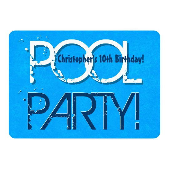 10th Ten Birthday Pool Party Save The Date P02Z Invitation